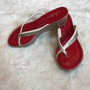 Cole Haan red and tan sandals size 71/2 B